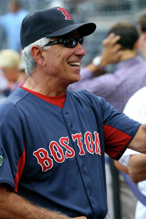 """In this Friday, July 27, 2012, photo, Boston Red Sox manager Bobby Valentine relaxes before the baseball game between the Red Sox and the New York Yankees at Yankee Stadium in New York. Valentine is an executive producer of a new documentary on Dominican baseball prospects, """"Ballplayer: Pelotero,"""" a film that drew criticism from baseball Commissioner Bud Selig. And his production company has more pictures in the pipeline, including a flick about the NCAA and one on his famous father-in-law, Ralph Branca. (AP Photo/Seth Wenig) Photo: Seth Wenig"""