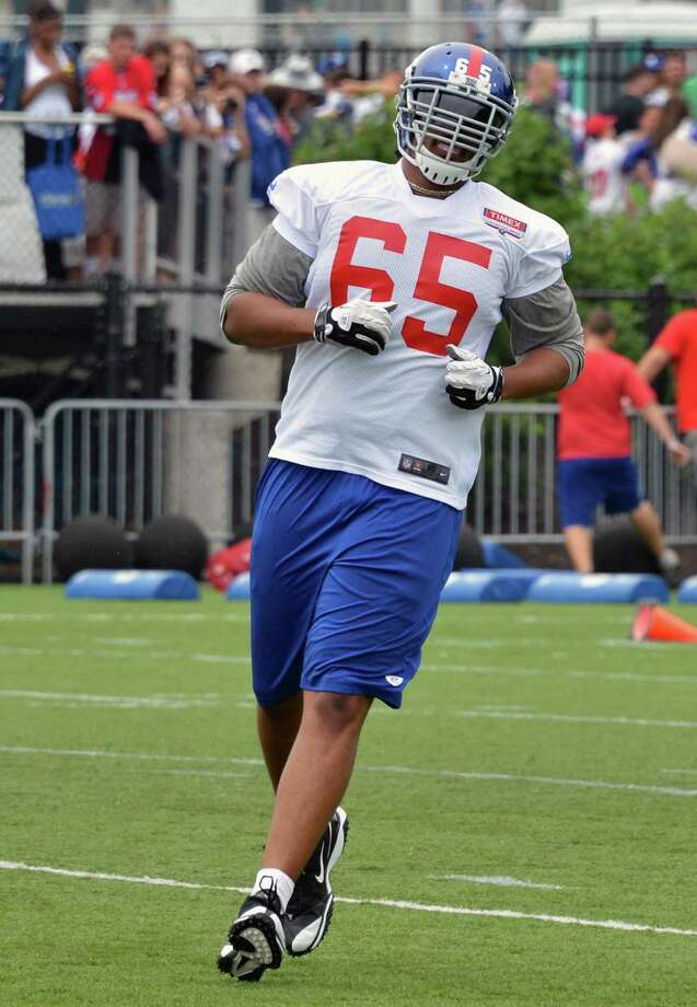 New York Giants offensive tackle #65, Will Beatty during training camp at UAlbany Saturday July 28, 2012.   (John Carl D'Annibale / Times Union) Photo: John Carl D'Annibale / 00018615A