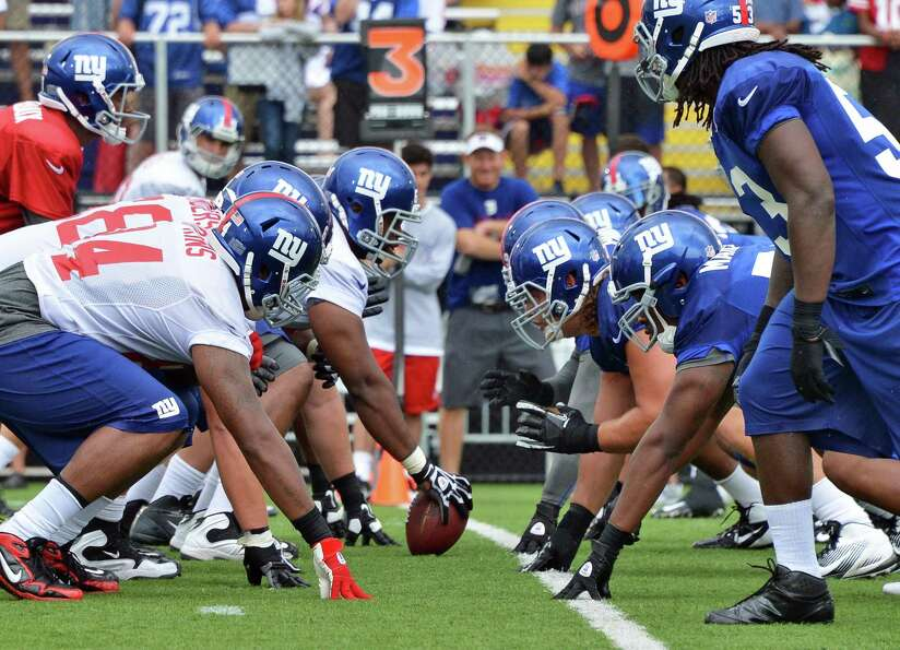 New York Giants  during training camp at UAlbany Saturday July 28, 2012.   (John Carl D'Annibale / T