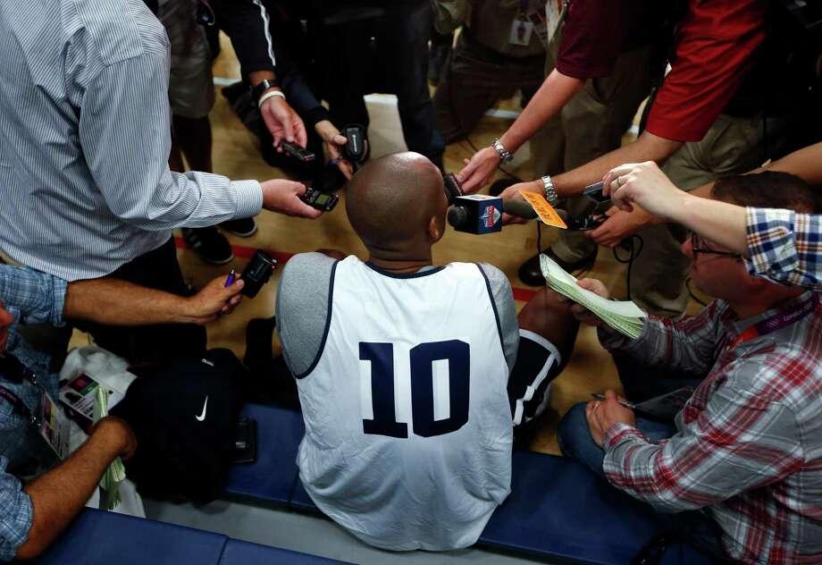 United States guard Kobe Bryant (10) talks to reporters during a men's team basketball practice at the 2012 Summer Olympics, Saturday, July 28, 2012, in London. (AP Photo/Jae C. Hong) Photo: Jae C. Hong