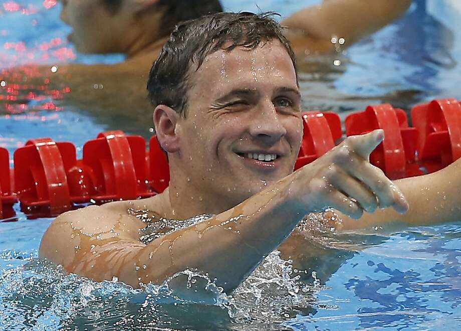 United States' Ryan Lochte reacts after finishing first in the men's 400-meter individual medley swimming final at the Aquatics Centre in the Olympic Park during the 2012 Summer Olympics in London, Saturday, July 28, 2012. (AP Photo/Daniel Ochoa De Olza) Photo: Daniel Ochoa De Olza, Associated Press