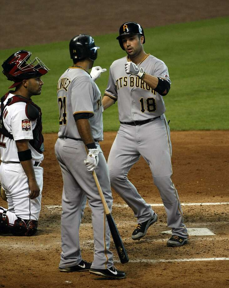Pittsburgh's Neil Walker (18) is greeted by Pedro Alvarez (24) after hitting a home run in the fourth inning. (Johnny Hanson / Houston Chronicle)