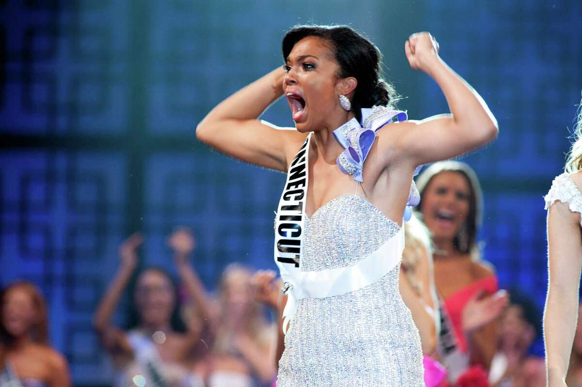 Miss Connecticut Teen USA 2012, Logan West, reacts to being crowned Miss Teen USA 2012. She celebrates on stage at Atlantis, Paradise Island and Resort in The Bahamas on Saturday, July 28, 2012.
