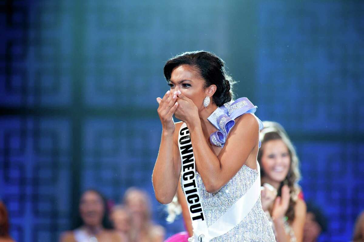 Miss Connecticut Teen USA 2012, Logan West, reacts to being crowned Miss Teen USA 2012.