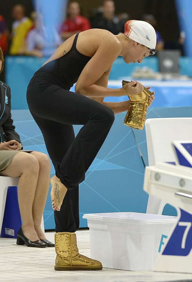 United States' Rachel Bootsma prepares for a women's 100-meter backstroke swimming semifinal at the Aquatics Centre in the Olympic Park during the 2012 Summer Olympics in London, Sunday, July 29, 2012. (AP Photo/Mark J. Terrill) Photo: Mark J. Terrill, Associated Press