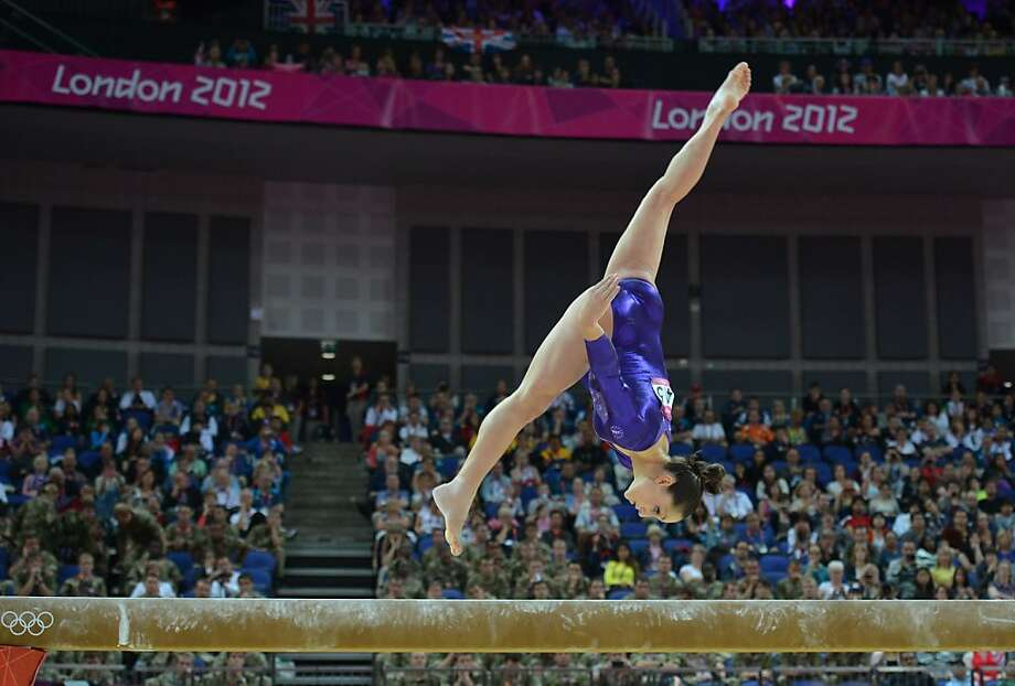 US gymnast Jordyn Wieber performs on the beam during the women's qualification of the artistic gymnastics event of the London Olympic Games on July 29, 2012 at the 02 North Greenwich Arena in London. AFP PHOTO / BEN STANSALLBEN STANSALL/AFP/GettyImages Photo: Ben Stansall, AFP/Getty Images