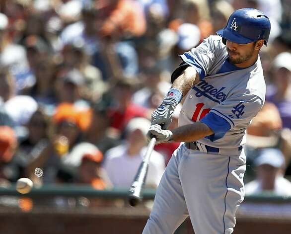 Los Angeles Dodgers' Andre Ethier (16) hits a double against the San Francisco Giants during the ninth inning of a baseball game in San Francisco, Sunday, July 29, 2012. The Dodgers won 4-0. (AP Photo/Tony Avelar) Photo: Tony Avelar, Associated Press