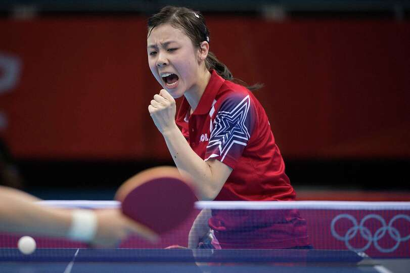 Ariel Hsing of San Jose, Calif, reacts after winning a point during her women's singles third round