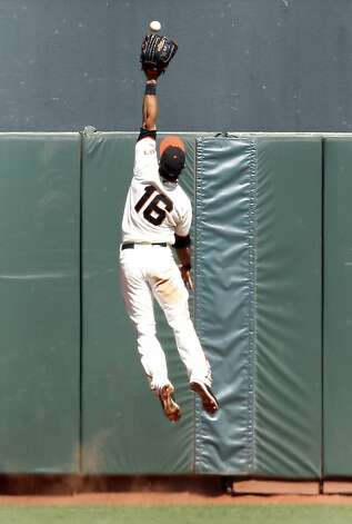 San Francisco Giants center fielder Angel Pagan (16) cannot make the catch on a double by Los Angeles Dodgers' Andre Ethier during the ninth inning of a baseball game in San Francisco, Sunday, July 29, 2012. The Dodgers defeated the Giants 4-0.(AP Photo/Tony Avelar) Photo: Tony Avelar, Associated Press