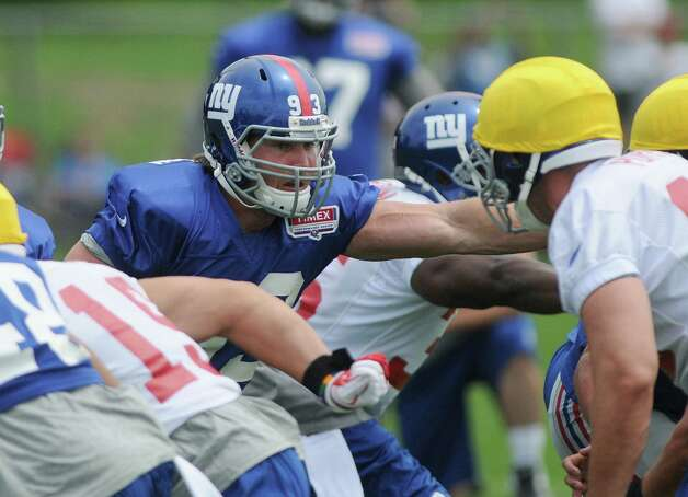 Chase Blackburn runs through a drill during practice at New York Giants training camp at the University at Albany on Sunday, July 29, 2012 in Albany, NY.   (Paul Buckowski / Times Union) Photo: Paul Buckowski