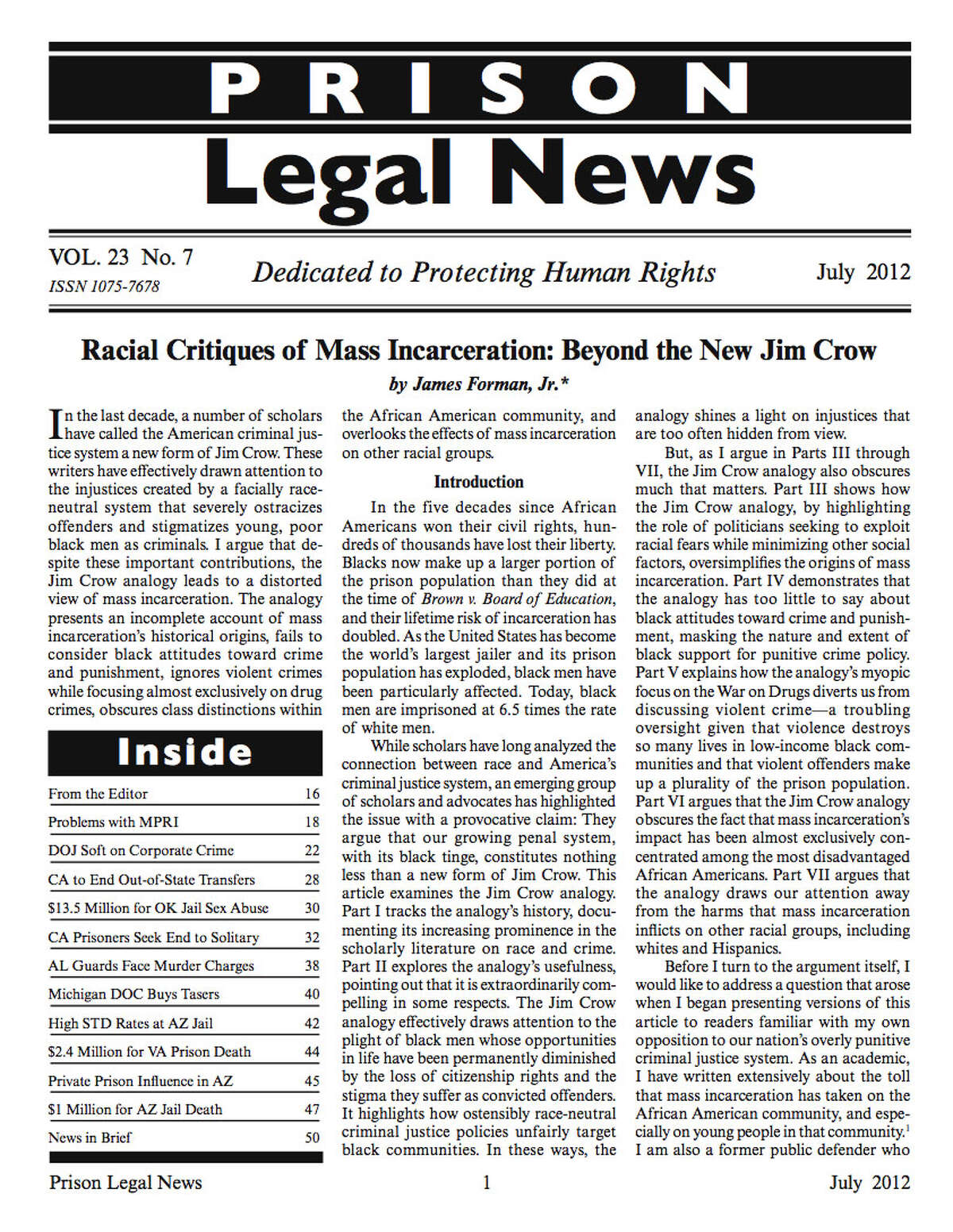 The July 2012 issue of Prison Legal News.