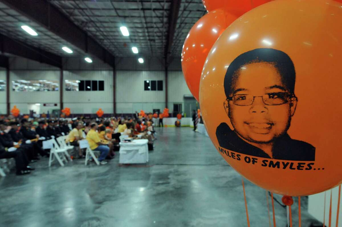 Hundreds attended a celebration of the life of Myles McAdoo, 9, who died this week of pediatric brain cancer, at the Bethlehem YMCA on Sunday July 29, 2012 in Delmar, NY. (Philip Kamrass / Times Union)