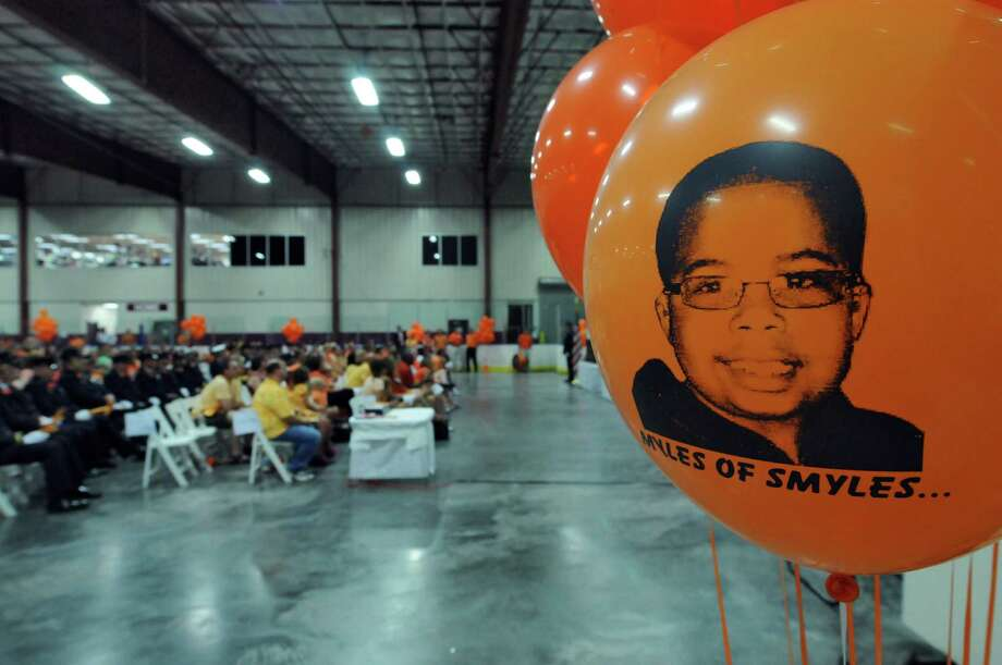 Hundreds attended a celebration of the life of Myles McAdoo, 9,  who died this week of pediatric brain cancer,  at the Bethlehem YMCA on Sunday July 29, 2012 in Delmar, NY. (Philip Kamrass / Times Union) Photo: Philip Kamrass / 00018626A