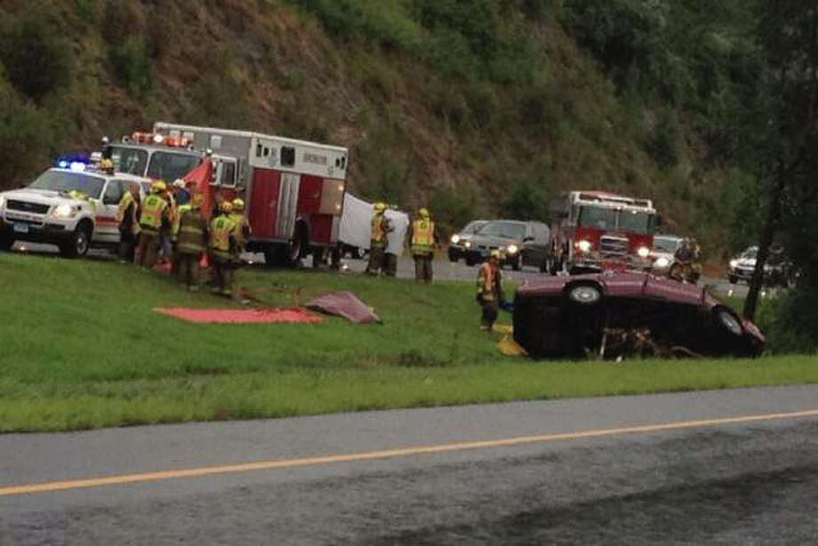 A 67-year-old Shelton man, Rodney Francis, was killed in a one-car crash on Route 8 northbound in Shelton, Conn. on Saturday July 28, 2012. WTNH News 8 ReportIt photo. Photo: Contributed