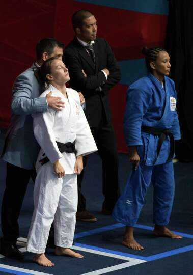 Marti Malloy of the USA prepares to fight Colombia's Yadinys Amaris in a women's judo women's judo 5