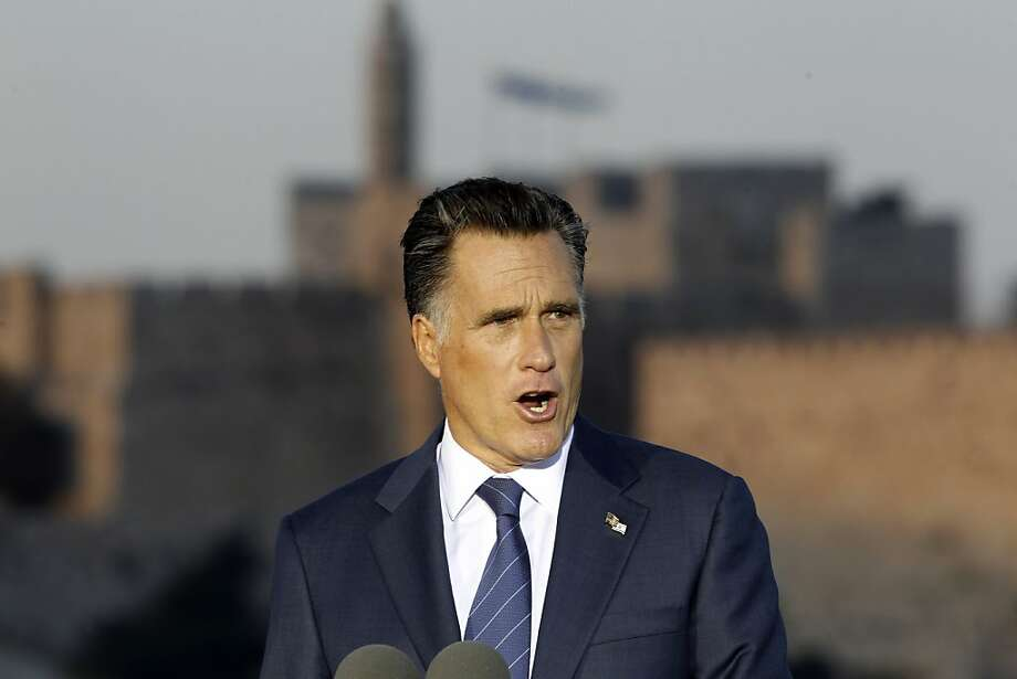 Republican presidential candidate and former Massachusetts Gov. Mitt Romney delivers a speech in Jerusalem, Sunday, July 29, 2012. (AP Photo/Charles Dharapak) Photo: Charles Dharapak, Associated Press