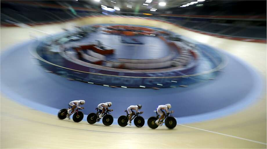 The South Korean men's cycling team trains for the 2012 Summer Olympics, Monday, July 30, 2012, in London. (AP Photo/Sergey Ponomarev) Photo: Sergey Ponomarev, Associated Press