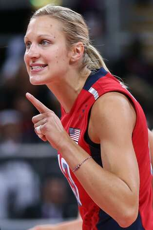 Christa Harmotto of United States gestures to her team mates in the Women's Volleyball Preliminary match between the United States and Brazil on Day 3 of the London 2012 Olympic Games at Earls Court on July 30, 2012 in London, England. (Elsa / Getty Images)
