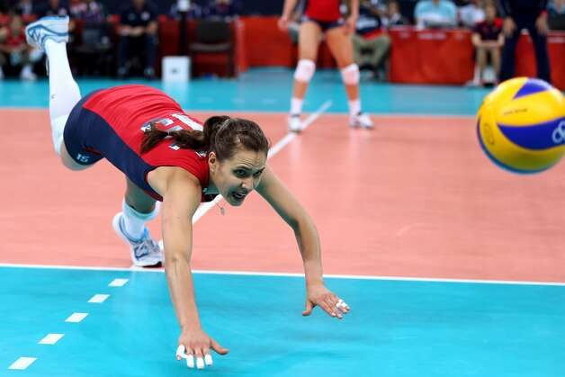 Logan Tom of United States dives for the ball in the Women's Volleyball Preliminary match between the United States and Brazil on Day 3 of the London 2012 Olympic Games at Earls Court on July 30, 2012 in London, England. (Elsa / Getty Images)