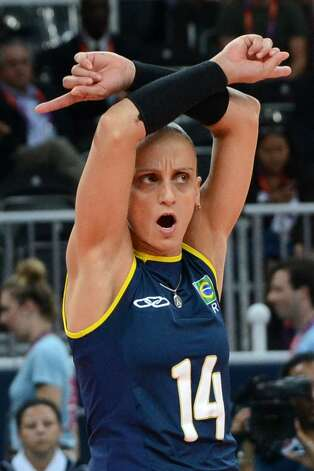 Brazil's Fabiana Oliveira reacts during the women's preliminary pool B volleyball match between the US and Brazil in the 2012 London Olympic Games in London on July 30, 2012. (KIRILL KUDRYAVTSEV / AFP/Getty Images)