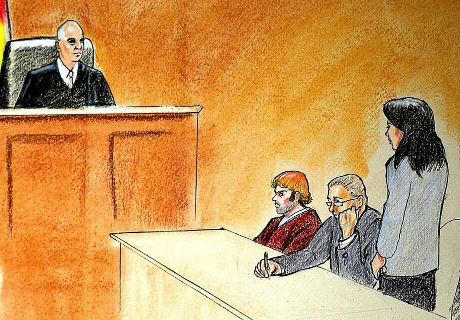 In this courtroom sketch, suspect James Holmes, third from right, sits in district court Monday, July 30, 2012, in Centennial, Colo., during his arraignment where he was formally charged with 24 counts of murder and 116 counts of attempted murder in the shooting rampage at an Aurora movie theater, on July 20. From left are: District Judge William Blair Sylvester; suspect James Holmes; and defense attorneys Daniel King and Tamara Brady. (AP Photo/Jeff Kandyba, Pool) Photo: Jeff Kandyba, Associated Press