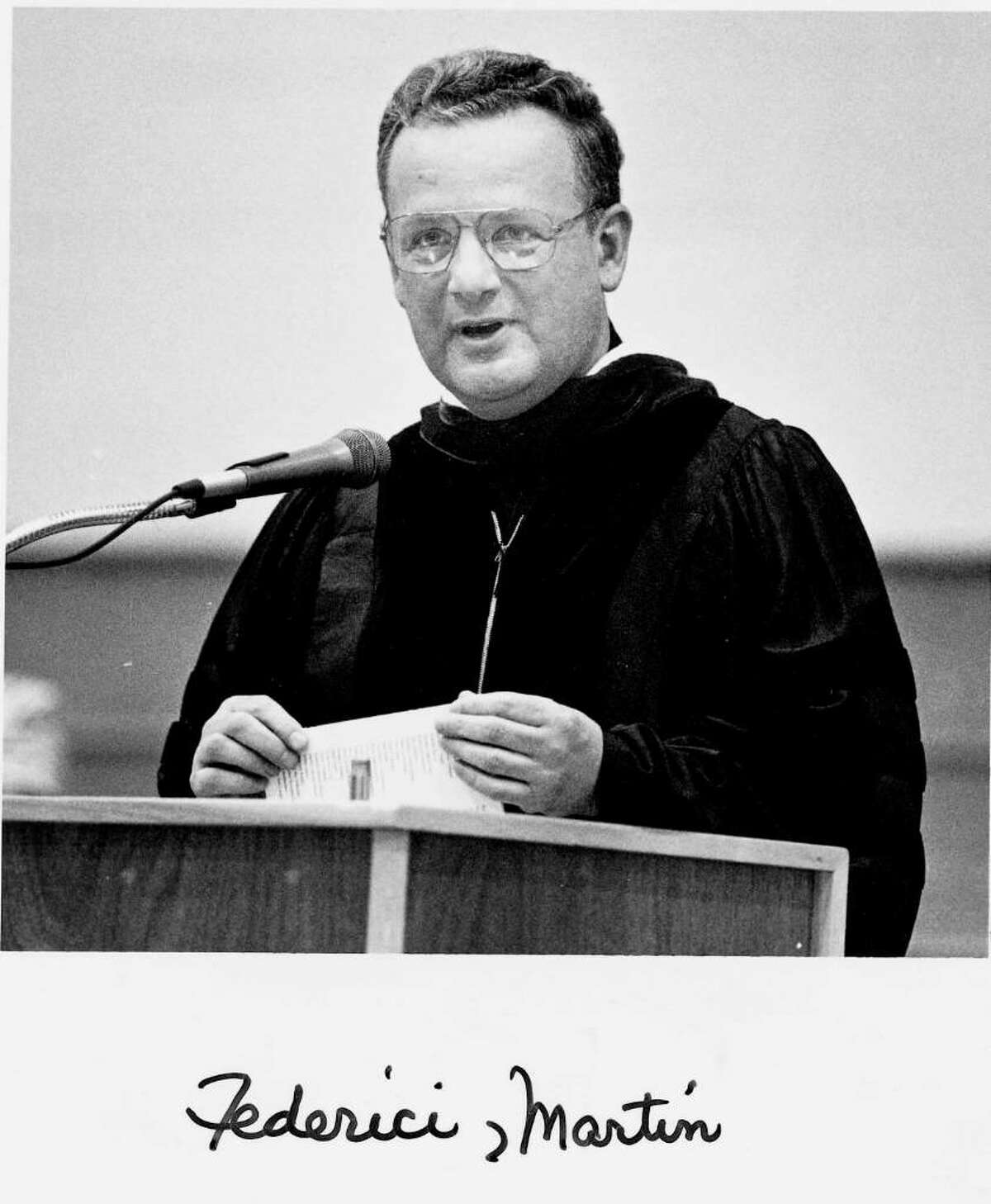Father Martin Federici accused in the child molestation lawsuit against the Diocese of Bridgeport. The picture was taken on 6/24/1992 as he performed the invocation and benediction at the Brien McMahon HS commencement exercises.