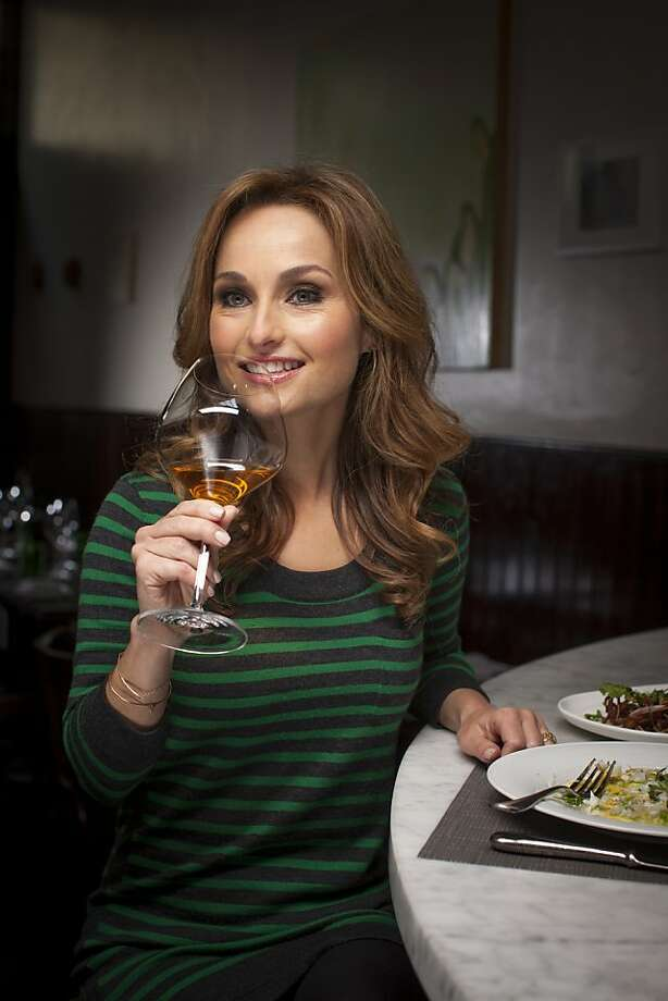 Food Network chef Giada De Laurentiis sips a 2009 Coenobium Rusticum, an orange wine from Lasio, Italy on a recent trip to SPQR. Photo: Russell Yip, The Chronicle