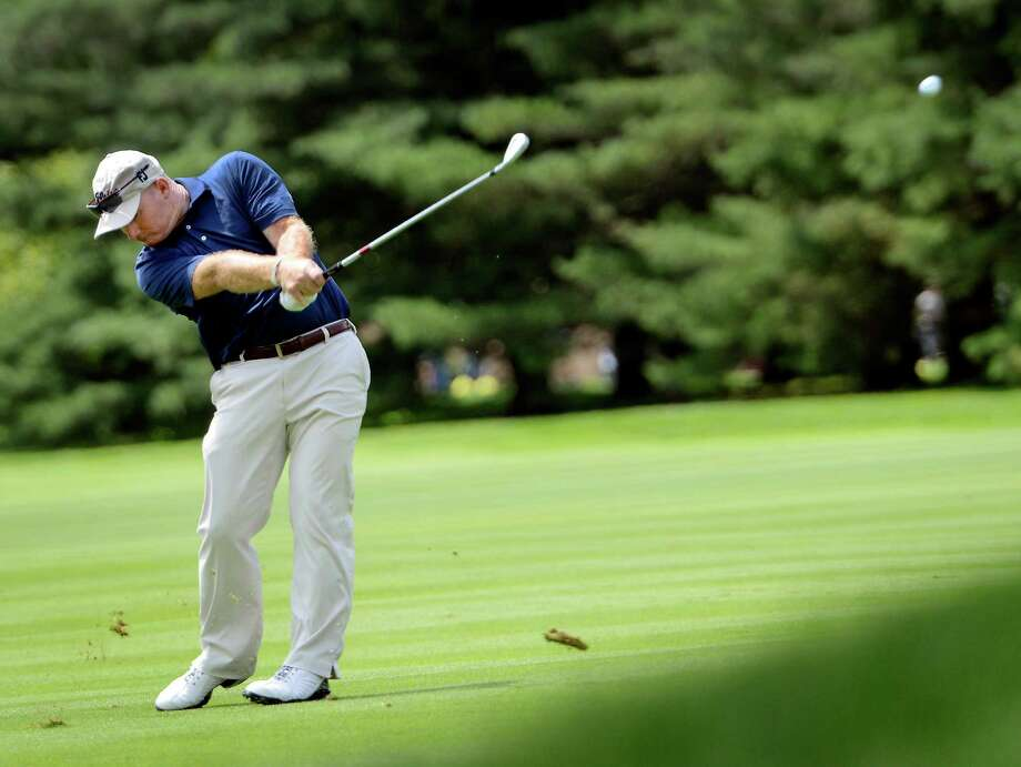 Frank Bensel of Norwalk hitting from the fairway on the 1st hole at the 78th Connecticut Open golf Championship played at Wee Burn Country Club, Darien, CT on Monday July 30th, 2012 Photo: Mark Conrad / Stamford Advocate Freelance