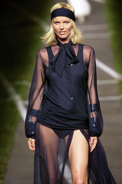Eva Herzigova can still be seen on the runway. The see-through look is still popular as well. (PIERR