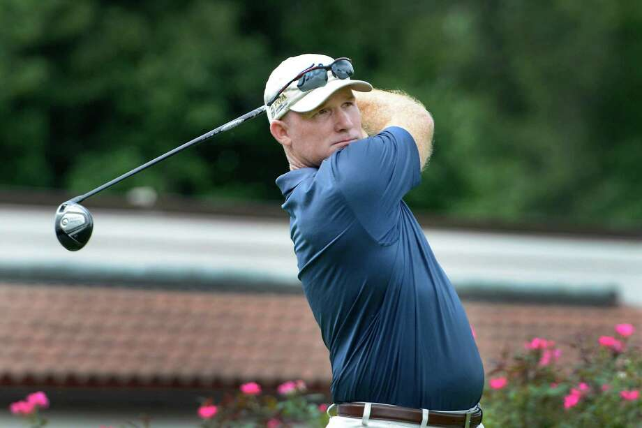 Frank Bensel of Norwalk hitting of the 1st tee at the 78th Connecticut Open golf Championship played at Wee Burn Country Club, Darien, CT on Monday July 30th, 2012 Photo: Mark Conrad / Stamford Advocate Freelance