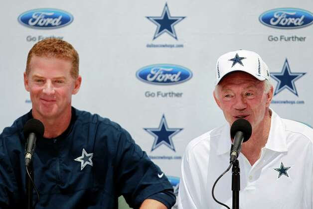 Dallas Cowboys head coach Jason Garrett, left, and team owner Jerry Jones attend a press conference Sunday July 29, 2012 in Oxnard, California. (Ron Jenkins/Fort Worth Star-Telegram/MCT) Photo: Ron Jenkins, MBR / Fort Worth Star-Telegram
