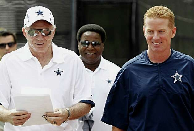 Dallas Cowboys head coach Jason Garrett, right, and team owner Jerry Jones arrive for a press conference Sunday July 29, 2012 in Oxnard, California. (Ron Jenkins/Fort Worth Star-Telegram/MCT) Photo: Ron Jenkins, MBR / Fort Worth Star-Telegram
