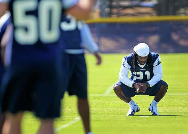 Dallas Cowboys defensive back Mike Jenkins (21) on the sidelines during a defensive drill at Cowboys training camp, Monday, July 30, 2012, in Oxnard, California. (Ron Jenkins/Fort Worth Star-Telegram/MCT) Photo: Ron Jenkins, MBR / Fort Worth Star-Telegram