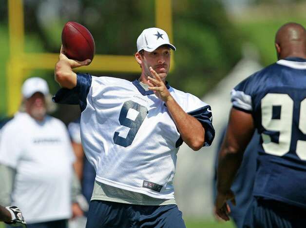 Dallas Cowboys quarterback Tony Romo (9) in action during Cowboys training camp, Monday, July 30, 2012, in Oxnard, California. (Ron Jenkins/Fort Worth Star-Telegram/MCT) Photo: Ron Jenkins, MBR / Fort Worth Star-Telegram