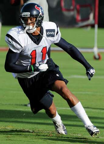 Houston Texans' DeVier Posey at training camp Monday, July 30, 2012, in Houston. (AP Photo/Pat Sullivan) Photo: Pat Sullivan, STF / AP
