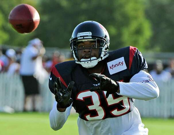 Houston Texans' Eddie Pleasant at training camp Monday, July 30, 2012, in Houston. (AP Photo/Pat Sullivan) Photo: Pat Sullivan, STF / AP