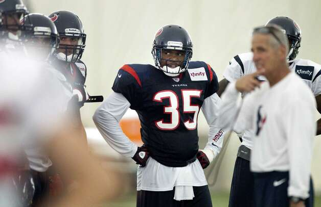 Houston Texans safety Eddie Pleasant (35) huddles up during special teams practice at Texans training camp at the Methodist Training Center Monday, July 30, 2012, in Houston.  ( Brett Coomer / Houston Chronicle ) Photo: Brett Coomer, Staff / © 2012 Houston Chronicle