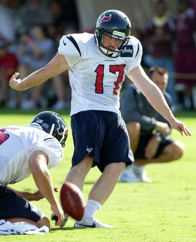 Houston Texans kicker Randy Bullock (4) kicks a field goal out o fhte hold of Donnie Jones (5) during Texans training camp at the Methodist Training Center Monday, July 30, 2012, in Houston.  ( Brett Coomer / Houston Chronicle ) Photo: Brett Coomer, Staff / © 2012 Houston Chronicle