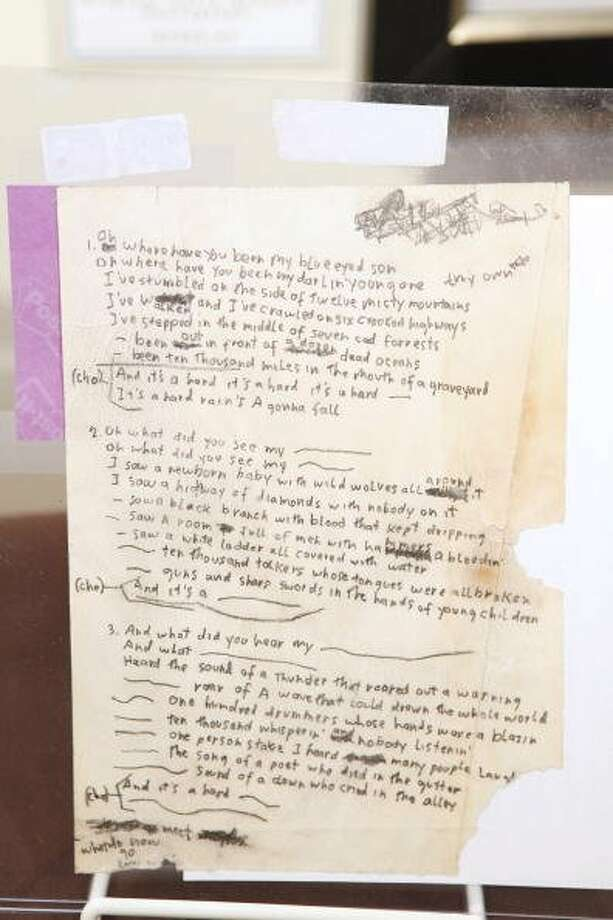 "Bob Dylan's original working lyrics for ""Hard Rain"" was displayed at the Gotta Have It! Rock & Roll Pop Art Auction Press Preview at Rock & Roll Hall of Fame Annex NYC on July 27, 2009 in New York City. (Mark Von Holden / WireImage)"