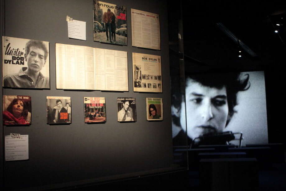 Old LPs (vinyls discs) of US singer and songwriter Bob Dylan displayed on March 1, 2012 at the Cite de la Musique, during a exhibition recounted five decisive years in the career of Bob Dylan between 1961 and 1966. (MARINA HELLI / AFP/Getty Images)