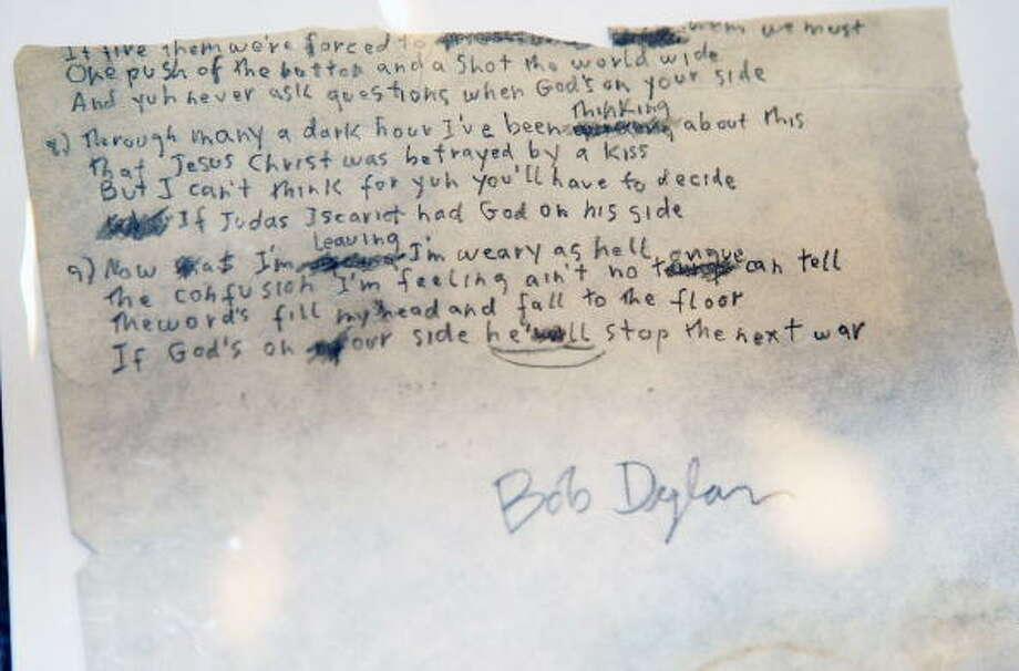 Original lyrics written by Bob Dylan went up for auction at the Christie's Pop Culture auction on June 22, 2009 in New York City. (Stephen Lovekin / Getty Images)