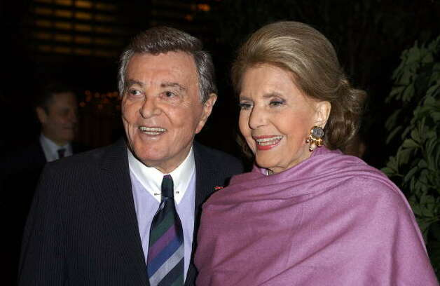 Actors Tony Martin and Cyd Charisse arrive at Martin's 90th birthday party at The Friars Club on December 7, 2003 in Beverly Hills, California.  (Amanda Edwards / Getty Images)