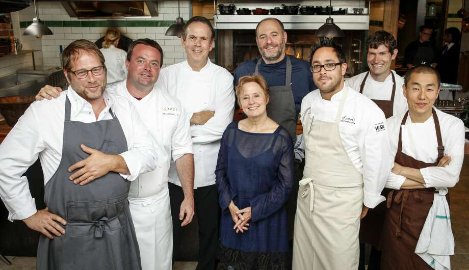 David Kinch of Manresa, Douglas Keane of Cyrus, Thomas Keller of The French Laundry, Alice Waters of Chez Panisse, Michael Tusk of Quince, Christopher Kostow of The Restaurant at Meadowood, Daniel Patterson of Coi, and Corey Lee of Benu. (Russell Yip / The Chronicle)