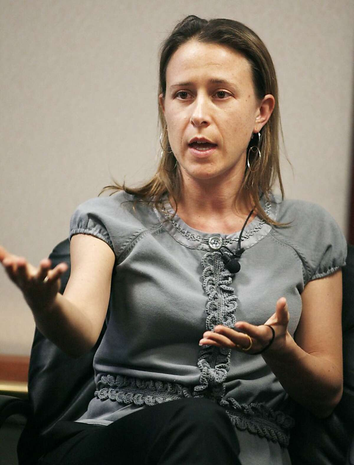 """Leading the list is the new ge? netic testing service, 23andMe, co? founded by Anne Wojcicki, a 35-? year-old biologist """"We're really focusing on the democratization of genetic information,'' said 23andMe co-founder Anne Wojcicki. The private company attracted additional interest to the emerging field because it received early backing from Google co-founder Sergey Brin, who is Wojcicki's husband. Panelist Anne Wojcicki, co-founder of 23and Me Inc., which is a web-based service that helps you read and understand your DNA, takes part in the Revolutionizing Health Care and Research in the Developing World panel at the Global Overview panel at 2008 Milken Institute Global Conference in Beverly Hills California April 28, 2008. Wojcicki is married to Google cofounder Sergey Brin. REUTERS/Fred Prouser (UNITED STATES)"""