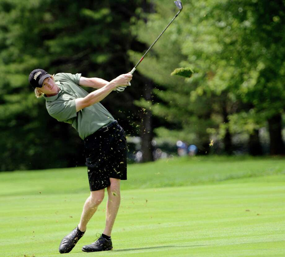 Jason Thresher of West Suffield hitting from the fairway on the 1st hole at the 78th Connecticut Open golf Championship played at Wee Burn Country Club, Darien, CT on Monday July 30th, 2012 Photo: Mark Conrad / Stamford Advocate Freelance
