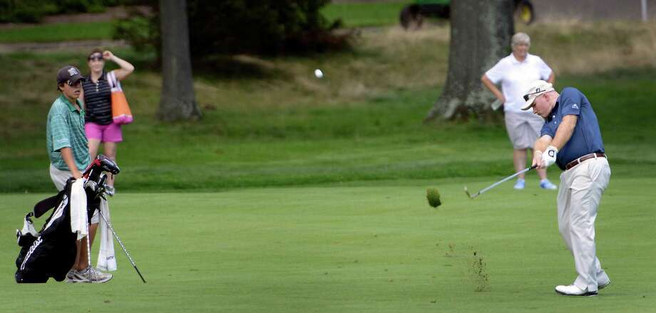 Frank Bensel hitting from the fairway on the 9th hole at the 78th Connecticut Open golf Championship played at Wee Burn Country Club, Darien, CT on Monday July 30th, 2012 Photo: Mark Conrad / Stamford Advocate Freelance