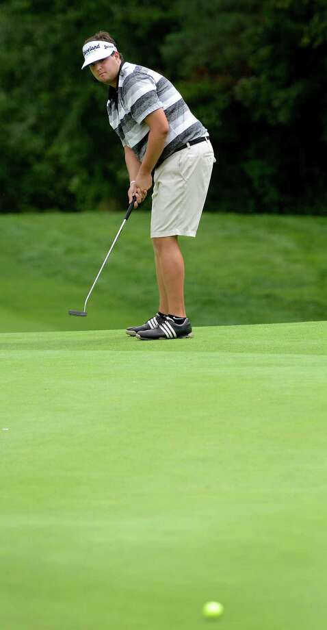 Mike Ballo, Jr of Stamford putting on the 18th green at the 78th Connecticut Open golf Championship held at Wee Burn Country Club, Darien, CT on Monday July 30th, 2012. Photo: Mark Conrad / Stamford Advocate Freelance