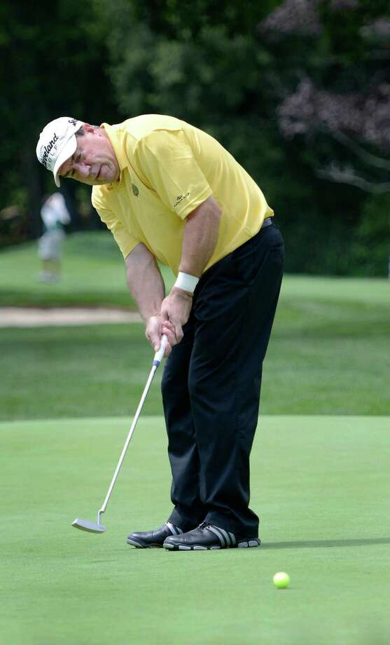 Gerry Courville of Stratford putting on the 10 green at the 78th Connecticut Open golf Championship played at Wee Burn Country Club, Darien, CT on Monday July 30th, 2012 Photo: Mark Conrad / Stamford Advocate Freelance