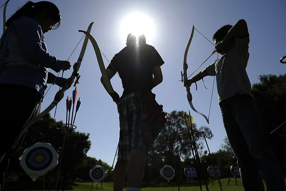 Stanford Archery's Junior Olympic Archery Development(JOAD) practices at the Stanford Archery Range in Palo Alto, CA Sunday July 22nd, 2012. Photo: Michael Short, Special To The Chronicle