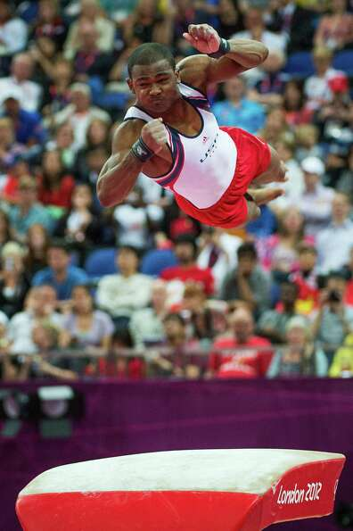 John Orozco of the USA performs on the vault during the men's gymnastics team final at the 2012 Lond